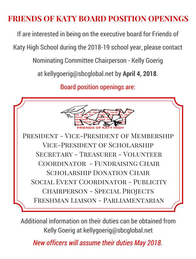 friends of katy high school board position openings flyer